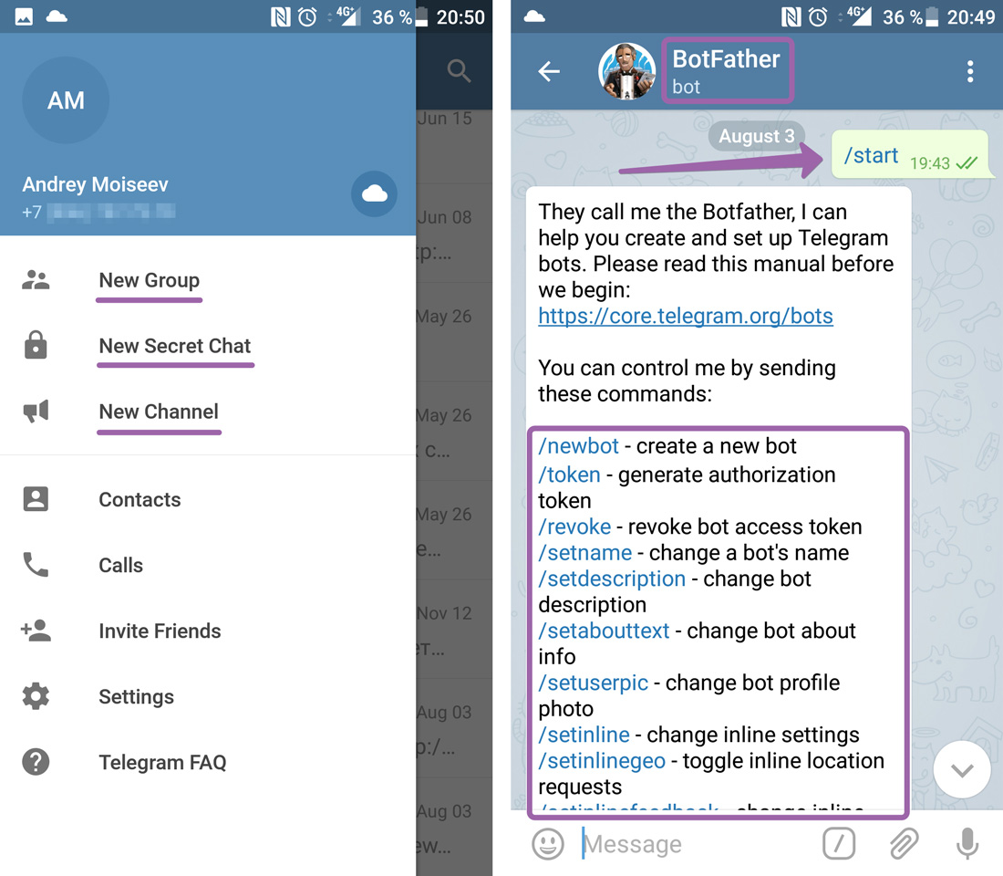 Создание каналов, чатов и ботов в Telegram