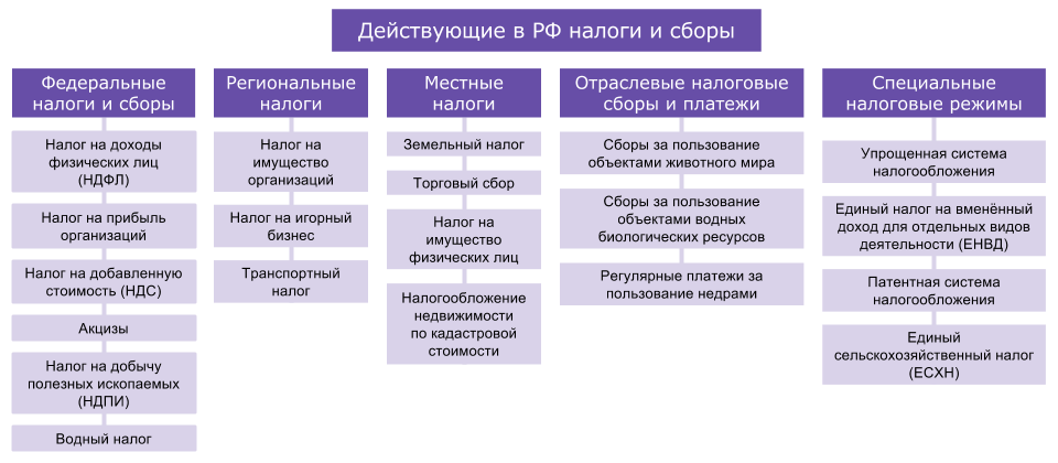 Действующие в РФ налоги и сборы