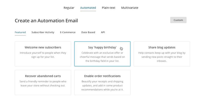 Варианты автоматизации в Mailchimp